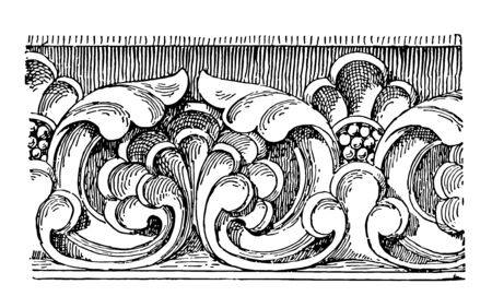 Carved Band from the front of Sens Cathedral vintage line drawing or engraving illustration.
