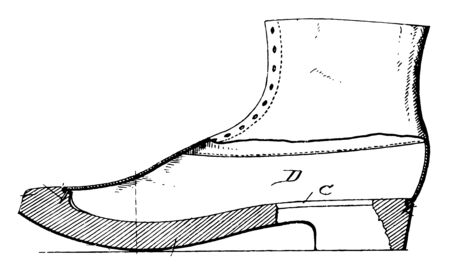 Wooden Soles for Shoes is the layer in direct contact with the ground vintage line drawing or engraving illustration.
