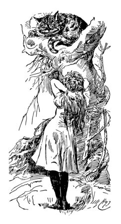 Alice in Wonderland this scene shows a cat with big eyes looking down at a girl who is standing and girl kept her both hands on back of neck vintage line drawing or engraving illustration