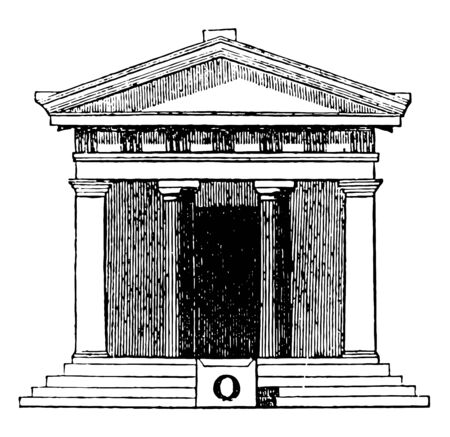 Antae or Square pillars joined to the sidewalls being placed on each side of the door assist in forming the portico vintage line drawing or engraving illustration. Ilustração