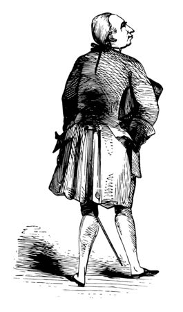 Usual Appearance of George III about 1776 who was King of Great Britain and King of Ireland from 25 October 1760 until his death vintage line drawing or engraving illustration.