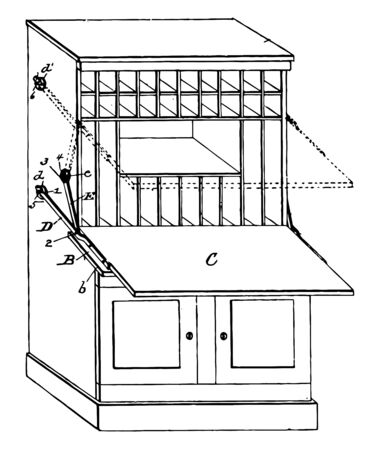 This illustration represents a desk which has multiple level, vintage line drawing or engraving illustration.