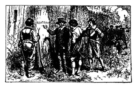 The lost colony of Roanoke,an independent city in the U.S. state of Virginia,vintage line drawing or engraving illustration. Illustration