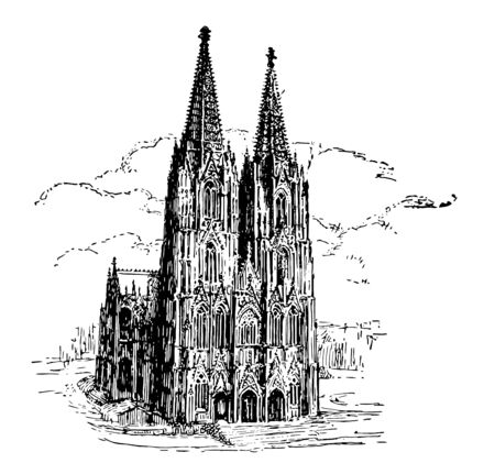 In this picture we see the Germanys most beautiful cathedral Cologne vintage line drawing or engraving illustration. Vetores