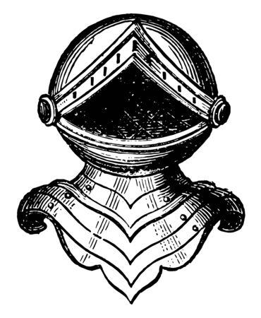 Helm of Baronet is a standing affronté vintage line drawing or engraving illustration.