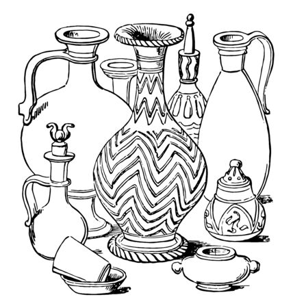 Classic Vessels made by the ancient Greeks it is a cylindrical box with a separate lid vintage line drawing or engraving. Ilustração