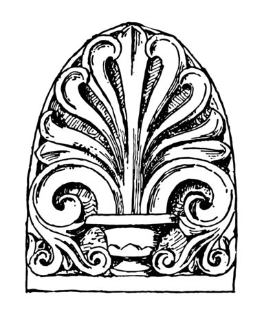 Anthemion have Ancient Rome carved pattern vintage line drawing or engraving illustration. Archivio Fotografico - 132822603