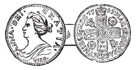 Coin of Anne which is produced during the reign of Queen Anne from 1702 to 1714, vintage line drawing or engraving illustration.