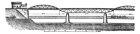 Cantilever Bridge is a bridge built using cantilevers structures that project horizontally into space supported on only one end, vintage line drawing or engraving illustration.