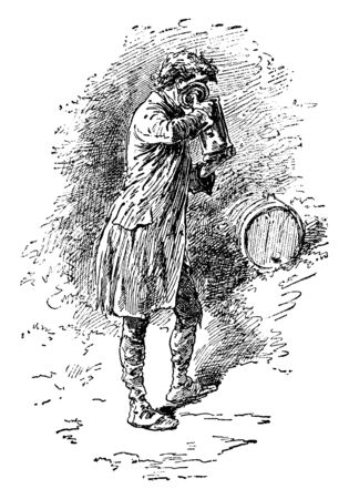 A man drinking from a tankard with an oak barrel, vintage line drawing or engraving illustration