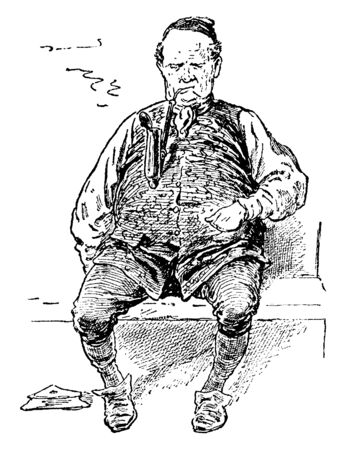 A man sitting on a bench and smoking a pipe, vintage line drawing or engraving illustration