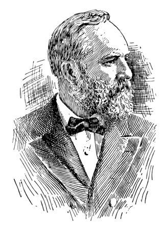 James Abram Garfield 1831 bis 1881 war er der 20. Präsident der Vereinigten Staaten und Mitglied des US-Repräsentantenhauses aus Ohio Vintage-Linienzeichnung oder Gravierillustration Vektorgrafik