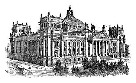 The Reichstagsgebude is the meeting place of the modern German parliament, vintage line drawing or engraving illustration.