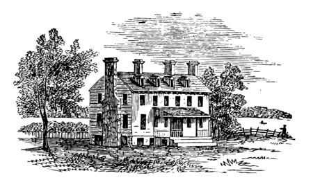 This is a big house & who has stairs on front of door there is chimney also. The house has a big Courtyard vintage line drawing or engraving illustration.
