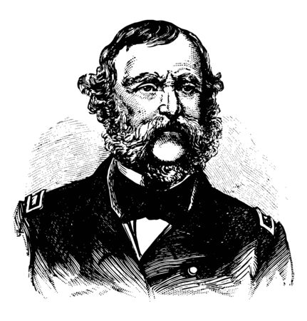 Samuel Francis Dupont 1803 to 1865 he was a Rear Admiral in the United States Navy vintage line drawing or engraving illustration