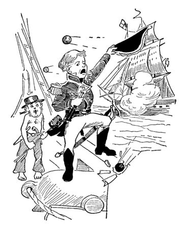 A captain standing on a cannon with his foot on the railing of the ship, vintage line drawing or engraving illustration