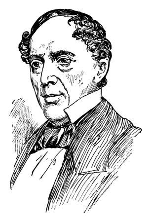 John Buchanan Floyd 1806 a 1863 fue el 31o gobernador de Virginia, el secretario de guerra de los Estados Unidos y el general confederado en la guerra civil estadounidense, línea vintage de dibujo o ilustración de grabado