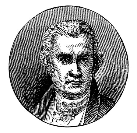 James Watts, 1736-1819, he was a Scottish inventor, mechanical engineer, and chemist, vintage line drawing or engraving illustration