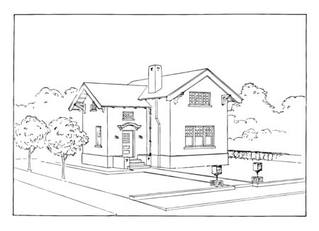 Ruled Outline of House is designing and constructing buildings certain indefinable combination of design and quality and external circumstances vintage line drawing or engraving illustration.