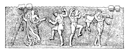 Bacchic is the Dance and based on various ecstatic elements It is ancient Greece and Rome which used intoxicants vintage line drawing or engraving illustration.