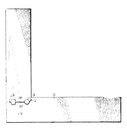 This illustration represents Woodworking Square which used for marking and measuring a piece of wood vintage line drawing or engraving illustration.