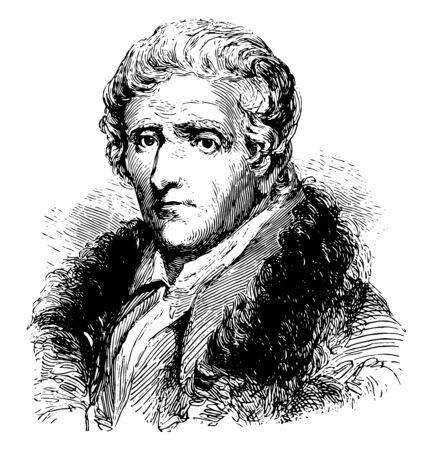 Daniel Boone 1734 bis 1820, er war ein amerikanischer Pionier der Entdecker und einer der ersten Volkshelden der Vereinigten Staaten, der für seine Erkundungs- und Siedlungs-Vintage-Linien-Zeichnung oder Gravur-Illustration berühmt war Vektorgrafik