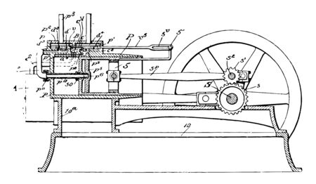 This illustration represents function of Explosive Engine vintage line drawing or engraving illustration.