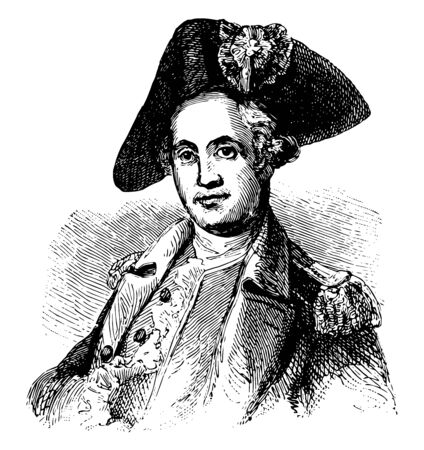 Mordecai Gist 1743 to 1792 he was a general in command of the Maryland Line in the continental army during the American revolutionary war vintage line drawing or engraving illustration Stock Illustratie