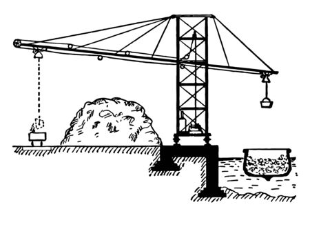 This illustration represents an example of a pulley system, vintage line drawing or engraving illustration.