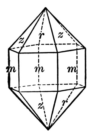 This diagram represents Quartz and it is a combination of a positive and negative rhombohedron vintage line drawing or engraving illustration.