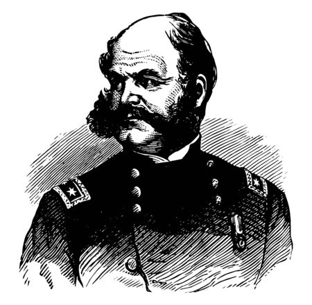 Ambrose Everett Burnside 1824 to 1881 he was an American soldier governor railroad executive inventor and politician from Rhode Island United States senator vintage line drawing or engraving illustration