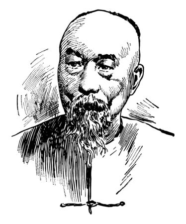 Li Hung Chang 1823 to 1901 he was a Chinese politician general and diplomat of the Qing dynasty who quelled several major rebellions and served in important positions in the Qing imperial court vintage line drawing or engraving illustration