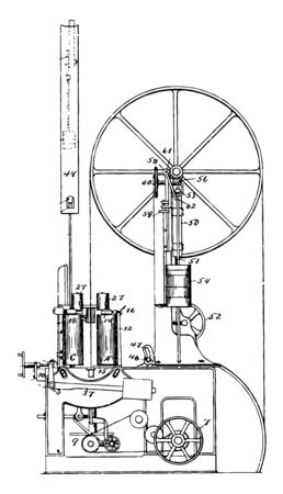 This illustration represents function of Band Resaw vintage line drawing or engraving illustration.