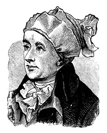 An English poet William Cowper face in this picture, vintage line drawing or engraving illustration. Ilustração