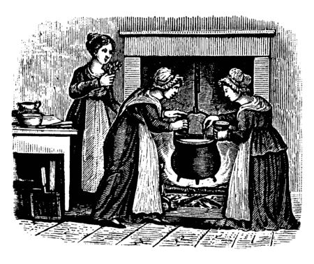 Three women cooking together at fireplace, vintage line drawing or engraving illustration Illustration