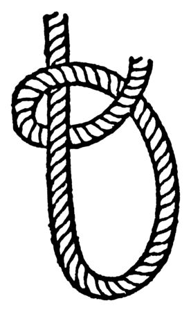 Half Hitch which is Pass the end of the rope round the standing part and through the bight, vintage line drawing or engraving illustration.