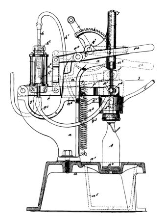 This illustration represents Bottling Machine which is a commercial enterprise vintage line drawing or engraving illustration.