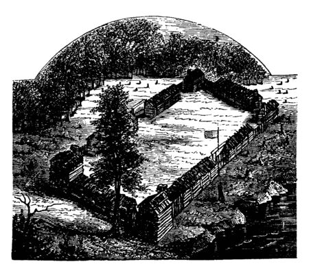 Boones Fort built by Daniel Boone,an American pioneer, explorer, woodsman, and frontiersman,vintage line drawing or engraving illustration