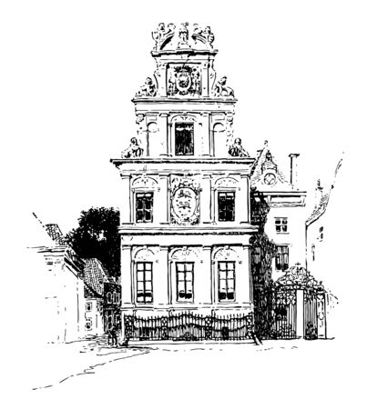Front View of the Town Hall in the city of Dutch vintage line drawing or engraving illustration.
