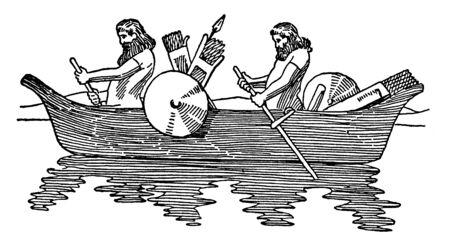 Persian Boat was an ancient Persian method of execution designed to inflict, vintage line drawing or engraving illustration.