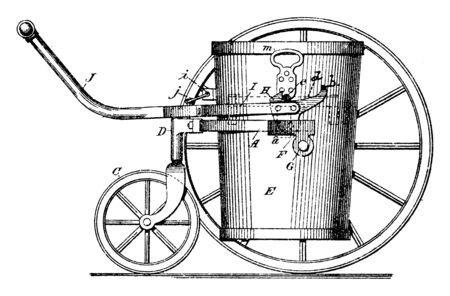 Two Wheeled Garbage Hand Truck main purpose for the wheeled garbage truck was to be moved around by a person who collected garbage, vintage line drawing or engraving illustration.