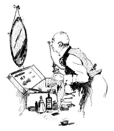 A man looking into mirror and styling his hair, and he is bald, vintage line drawing or engraving illustration