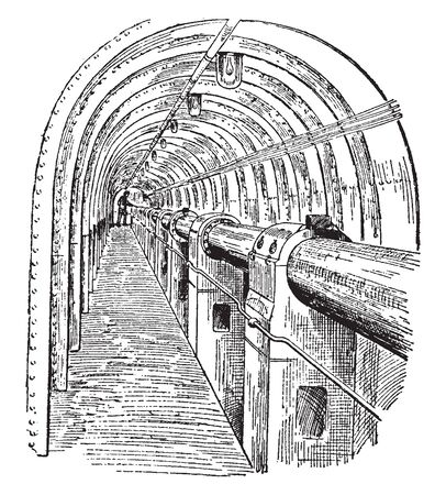 Engine Shaft is a mine shaft used for the purpose of pumping irrespective of the prime mover, vintage line drawing or engraving illustration.  イラスト・ベクター素材