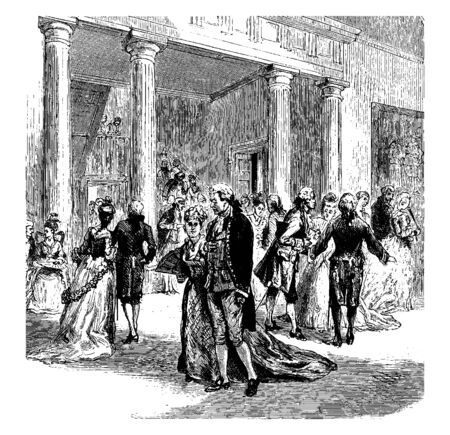 A festival gathering at Judge Chews House,vintage line drawing or engraving illustration.