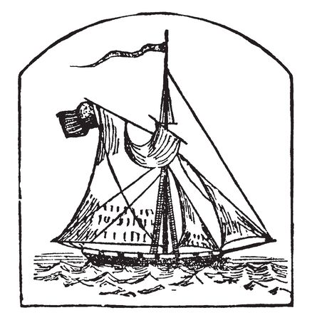 Cutter is a vessel rigged nearly like a sloop with one mast and a straight running bowspirit, vintage line drawing or engraving illustration. Stock Illustratie