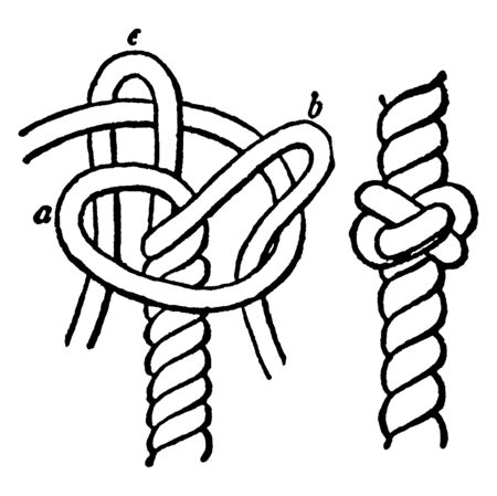 Diamond Knot is the rope must be unlaid as far as the centre if the knot is required there, vintage line drawing or engraving illustration. Иллюстрация