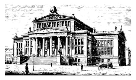 Theatre at Berlin is noteworthy for its magnificent façade it is delicacy and elegance in details vintage line drawing or engraving illustration.