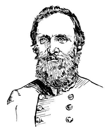 Thomas J. Stonewall Jackson 1824 bis 1863 er war ein konföderierter General während des amerikanischen Bürgerkriegs Vintage-Linien-Zeichnung oder Gravierillustration