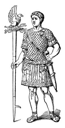 Eagle Bearer from the Roman Empire vintage line drawing or engraving illustration.