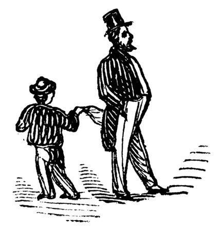 A little boy picking pocket of man, vintage line drawing or engraving illustration
